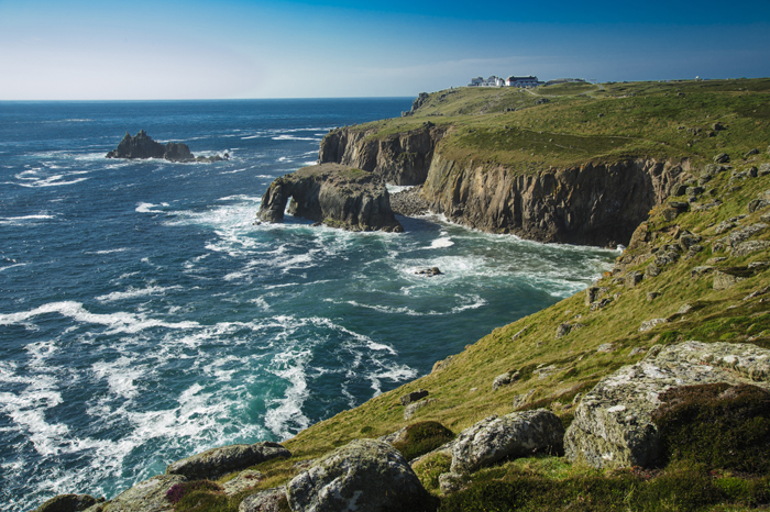JULY LAND'S END FROM PORDENACK POINT INCLUDING THE ARMED KNIGHT EDITED ROBERT HESKETH NEF